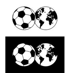 Globe and soccer ball composition vector