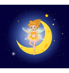 A fairy at the sky near the moon vector