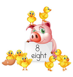 Counting number eight with pig and chicks vector