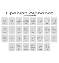 Set of monochrome icons with spanish aphabet vector