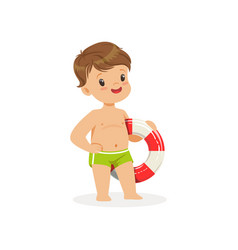 Cute boy standing with lifebuoy kids summer vector