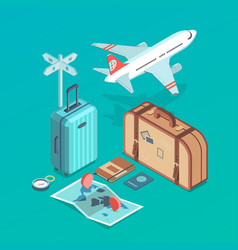 Travel set with airplane vector