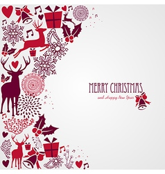 Merry Christmas text and vintage elements file vector image