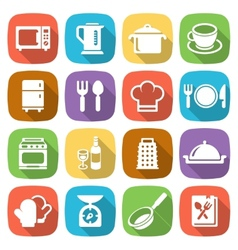 Trendy flat kitchen and cooking icons vector