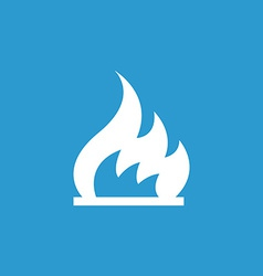 Fire icon white on the blue background vector