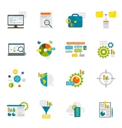 Data analytics flat icons vector