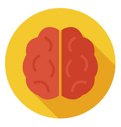 Flat knowledge and wisdom brain circle icon with vector