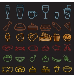 Food and drink line craft icons set vector