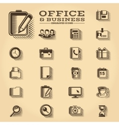 Office and business engraved icons set vector