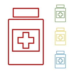 Medical container set of line icons vector