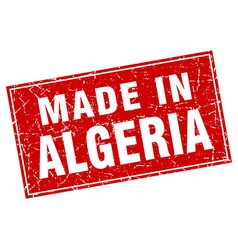 Algeria red square grunge made in stamp vector