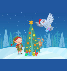 adorable elf and animals at vector image vector image