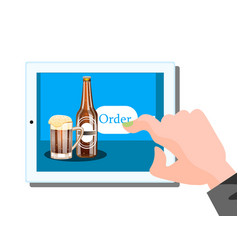 beer online order on tablet vector image vector image