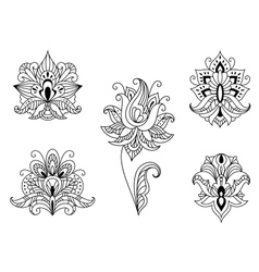 Black and white floral motifs of persian paisleys vector