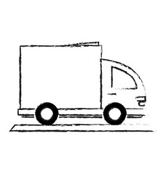 Blurred silhouette cartoon small transport truck vector
