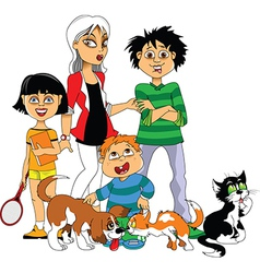 Children and Pets vector image