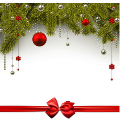 christmas background with red satin bow vector image vector image