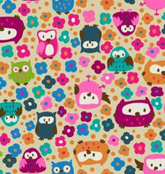 Cute owls and ditsy flowers vector