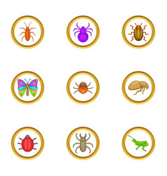 different insects icons set cartoon style vector image vector image