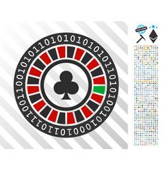 Digital casino roulette flat icon with bonus vector