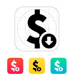Dollar exchange rate down icon vector image
