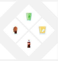 flat icon beverage set of bottle cup lemonade vector image