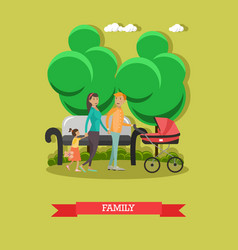 flat of happy family walking vector image vector image