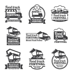 Food truck festival emblems and logos set vector image vector image
