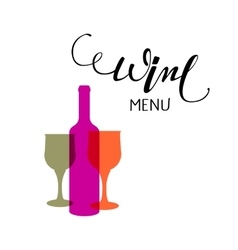 Hand lettering Wine menu emblem vector image vector image