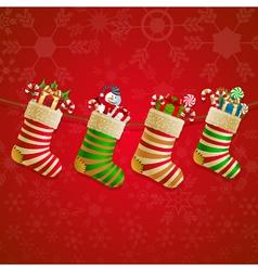 Hanging christmas socks with present vector