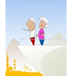 Happy old couple looking at the sea vector image