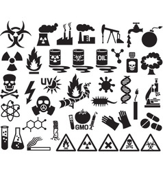 Hazard and Danger Icon Set vector image