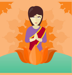 Indian woman isolated on round ornate mandala vector