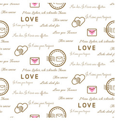 love letters seamless pattern on white vector image vector image