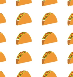Mexican taco seamless pattern on white background vector