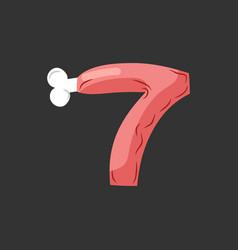 Number 7 meat pork and bone font seven ham vector