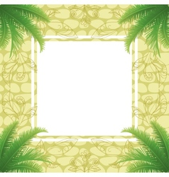 Palm leaves and abstract pattern vector image