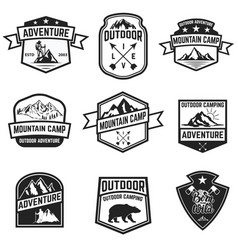 set of hiking badges isolated on white background vector image vector image