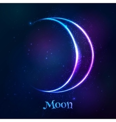 Shining blue neon zodiac moon symbol vector
