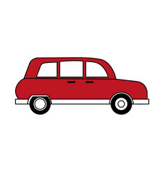Sketch color silhouette red automobile vehicle vector