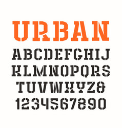 Stencil-plate serif font in urban style vector