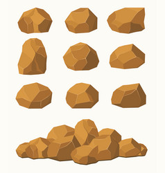Stones and rocks brown stones boulders vector