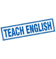 Teach english square stamp vector