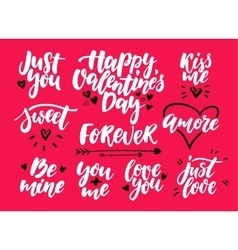 Valentine s day lettering set isolated vector