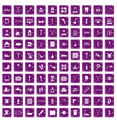 100 disabled healthcare icons set grunge purple vector image vector image