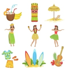 Hawaiian vacation set of classic symbols vector