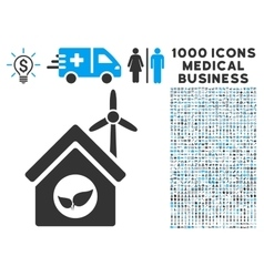Eco house building icon with 1000 medical business vector