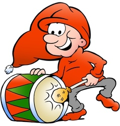 Hand-drawn of an elf playing christmas drum vector