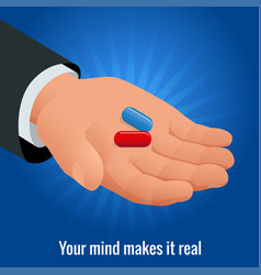 Isometric mans hand with red and blue pills vector
