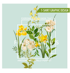 Vintage summer and spring flowers graphic design vector